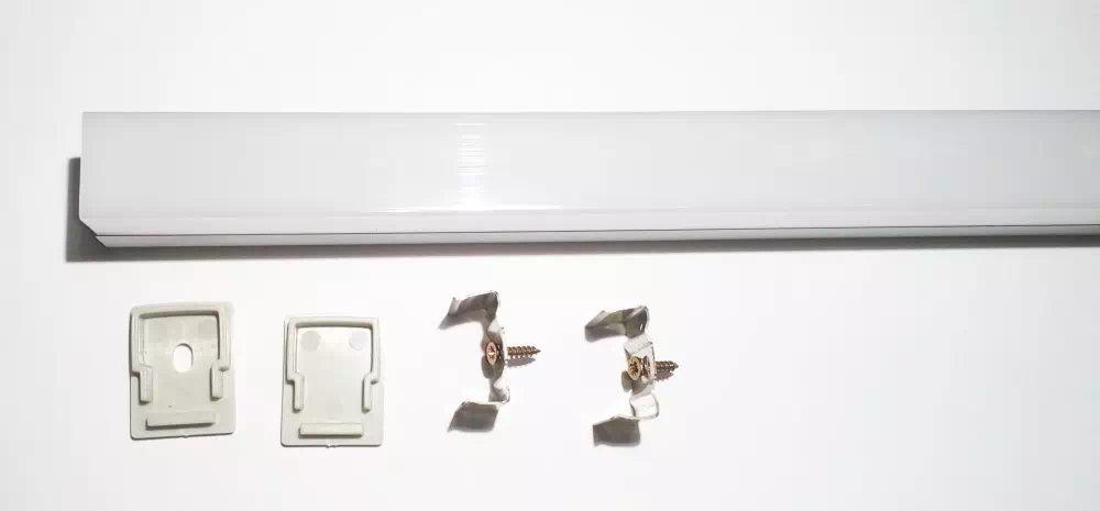 Life Light Minimál szögletes opál 1 méteres LED profil végzáróval, 2 rögzítő füllel