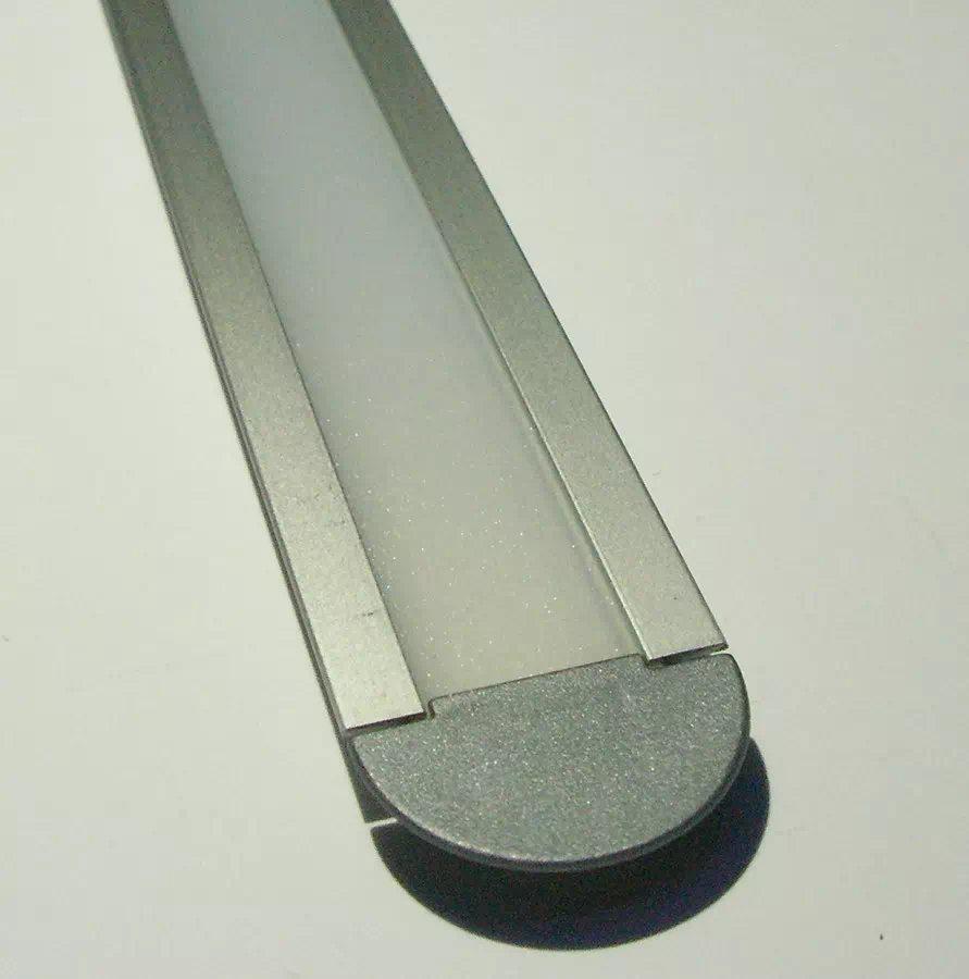 Maxilight Eloxált Alu beépíthető LED-profil + félopál takaró, 2m (végzáróval)
