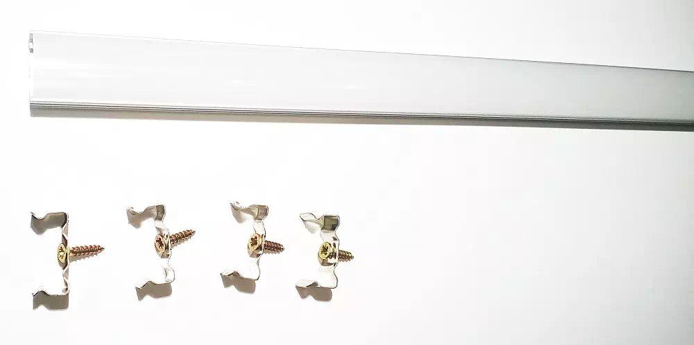Pannon Eloxált Alu ráépíthető opál 2 méteres LED profil 4 rögzítő füllel