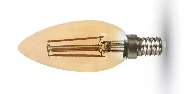 V-TAC 4W COG LED szál gyertya izzó E14 (borostyán)