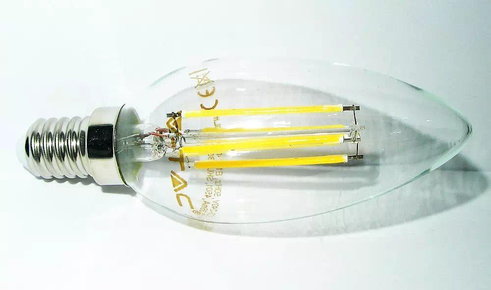 V-TAC 4W COG LED szál gyertya izzó E14 (melegfehér)