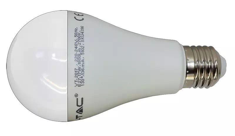 V-TAC 17W opál LED izzó E27 (melegfehér)